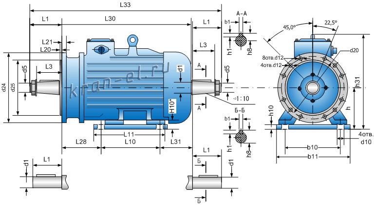 Присоединительные размеры электродвигателей