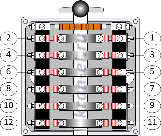 Схема электропривода с силовым контроллером типа ККТ-61А (фрагмент) .