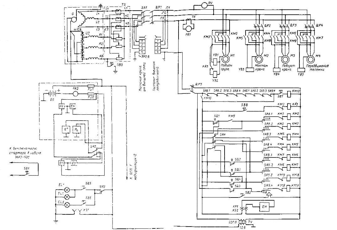 Электрическая схема кран- балки также и кабельную продукцию для Кран козловой.  Search Result: Кран АБКС-5.