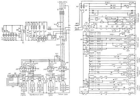 Кран башенный КБ-100.0.  Схема электрическая принципиальная.