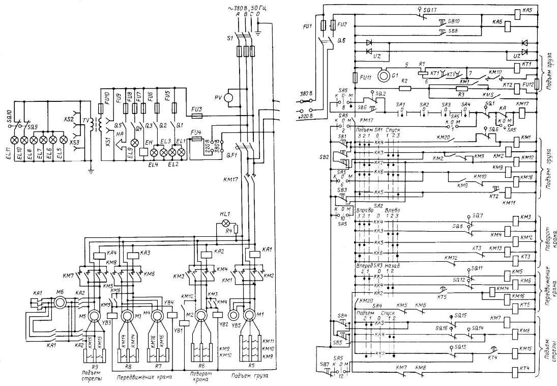Схема электрическая крана портального