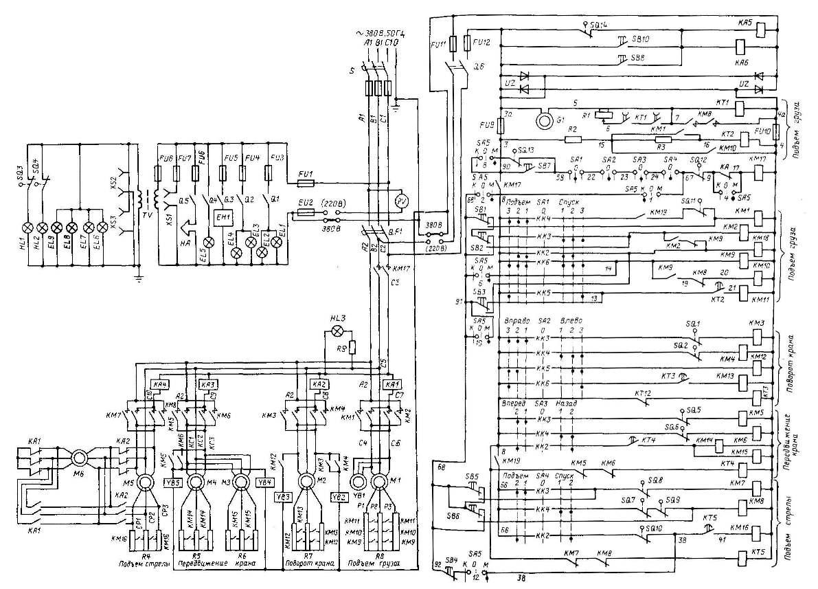 Кран башенный КБ-100.1.  Схема электрическая принципиальная.