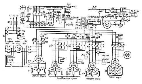 описание электрической схемы мостового крана