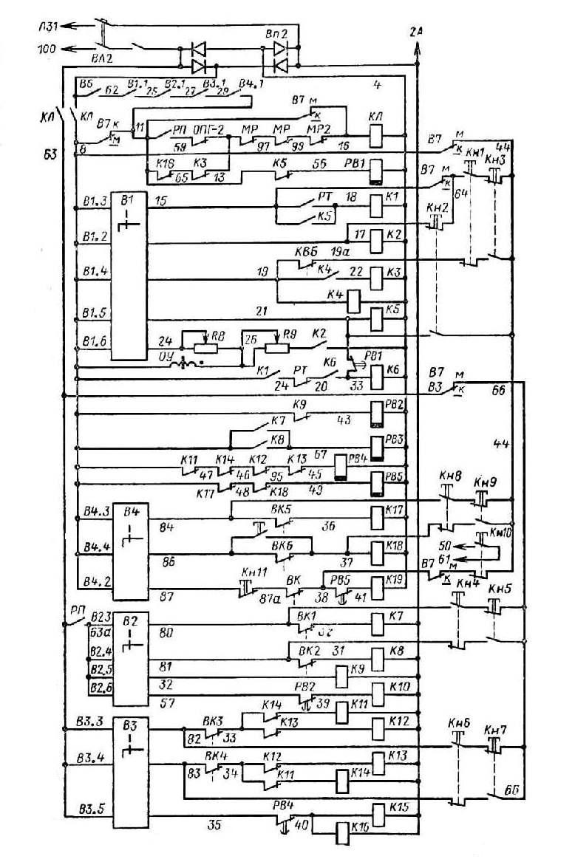 Схема цепей управления.  Кран КБ-160.2а.  Схема электрическая принципиальная.